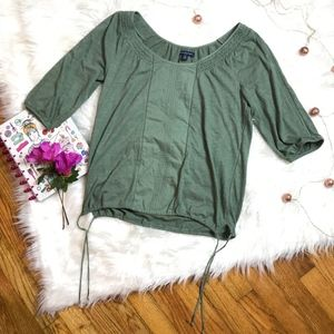 American Eagle Bohemian Green Cotton Smocked Tunic